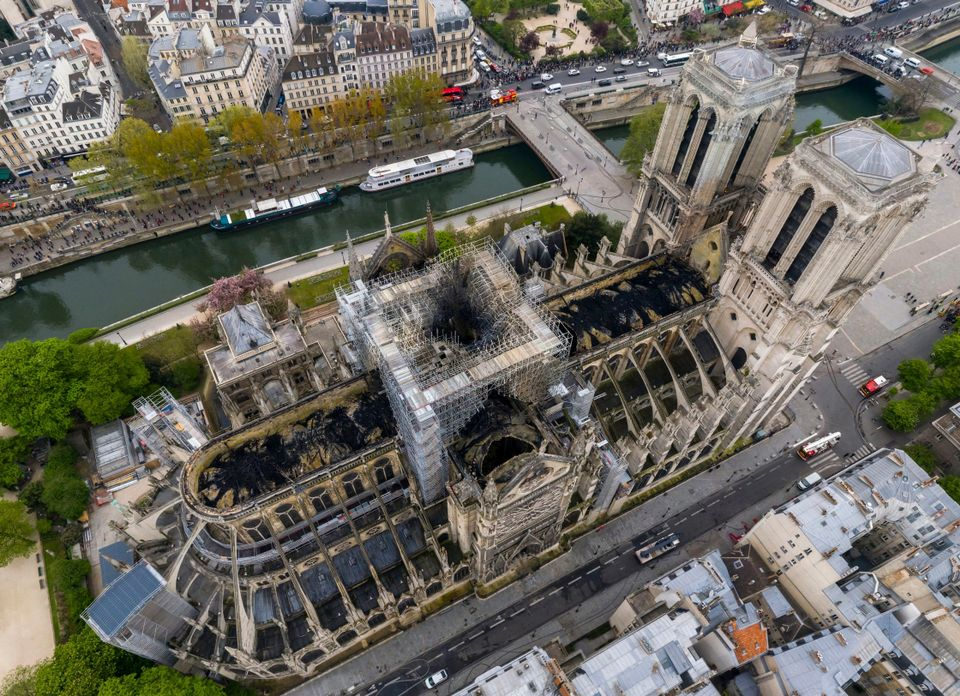 An image made available by Gigarama.ru on Wednesday April 17, 2019 shows an aerial shot of the fire damage to Notre Dame cathedral in Paris on Tuesday April 16. Nearly $1 billion has already poured in from ordinary worshippers and high-powered magnates around the world to restore Notre Dame Cathedral in Paris after it was damaged in a massive fire on Monday