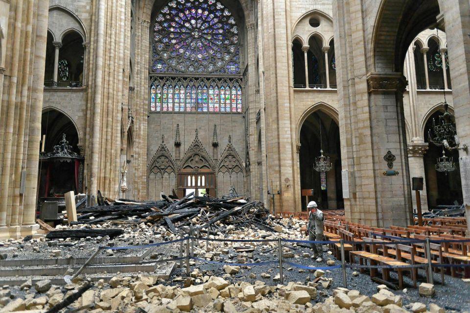 The debris inside Notre Dame cathedral