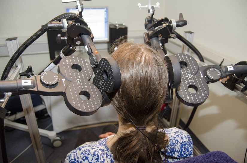 Scientists are using transcranial magnetic stimulation to understand which brain regions are important for communication. Image credit - Mathias Von Kriegstein
