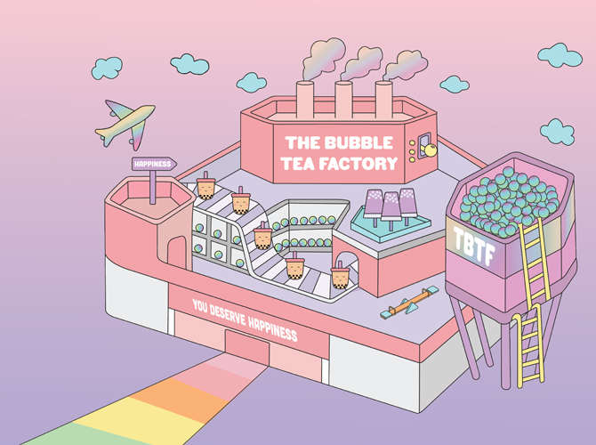 The Bubble Tea Factory is a multi-sensory exhibition focused on instagrammable bubble tea fixtures | Buro 24/7 Singapore