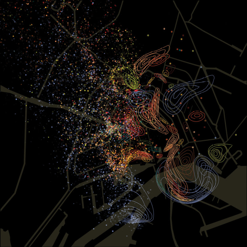 A visualization of urban scents captured in Spring 2013 in Amsterdam. McLean's visualizations will feature in an upcoming exhibition at the Cooper Hewitt museum in New York City.
