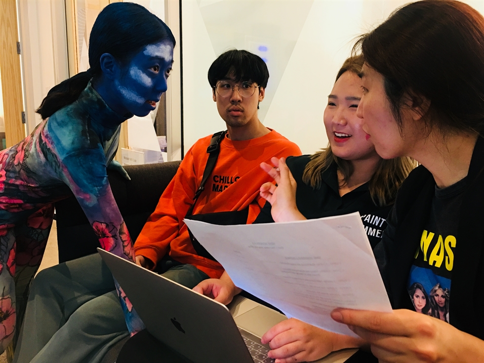 Choreographers and dancers Park Jina, left, and Heo Ji-eun perform at a set located in Microsoft's Mixed Reality Capture Studios in San Francisco in July 2018. / Courtesy of Production Company ONN