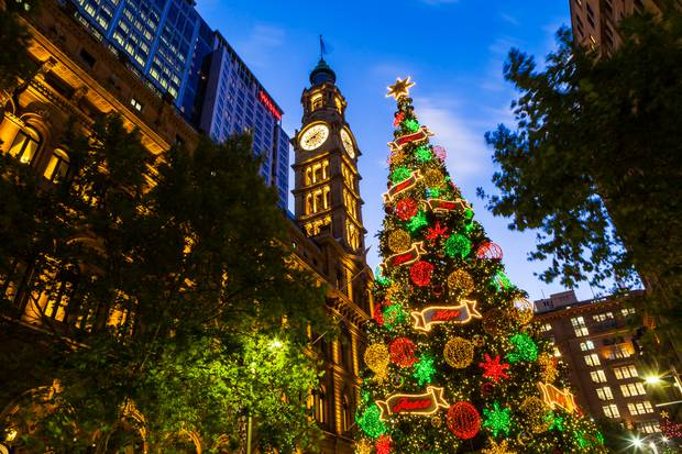 A Christmas tree shines bright in Sydney's CBD. Photo / Getty Images