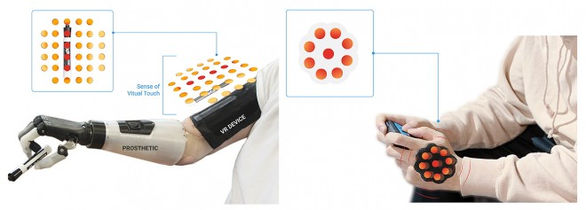 "The newly developed system of ""skin-integrated haptic interfaces"" can help users of prosthesis to feel the surrounding environment and be used for social media, entertainment and gaming."