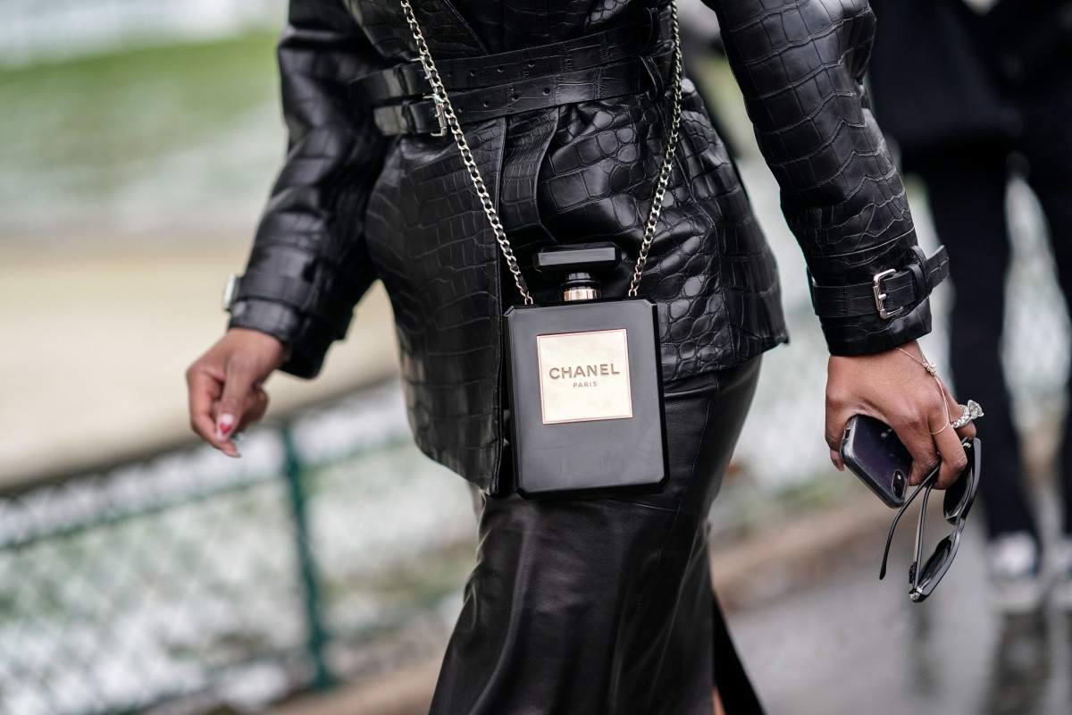 A Chanel bag in the form of a perfume bottle, during Paris Fashion Week.