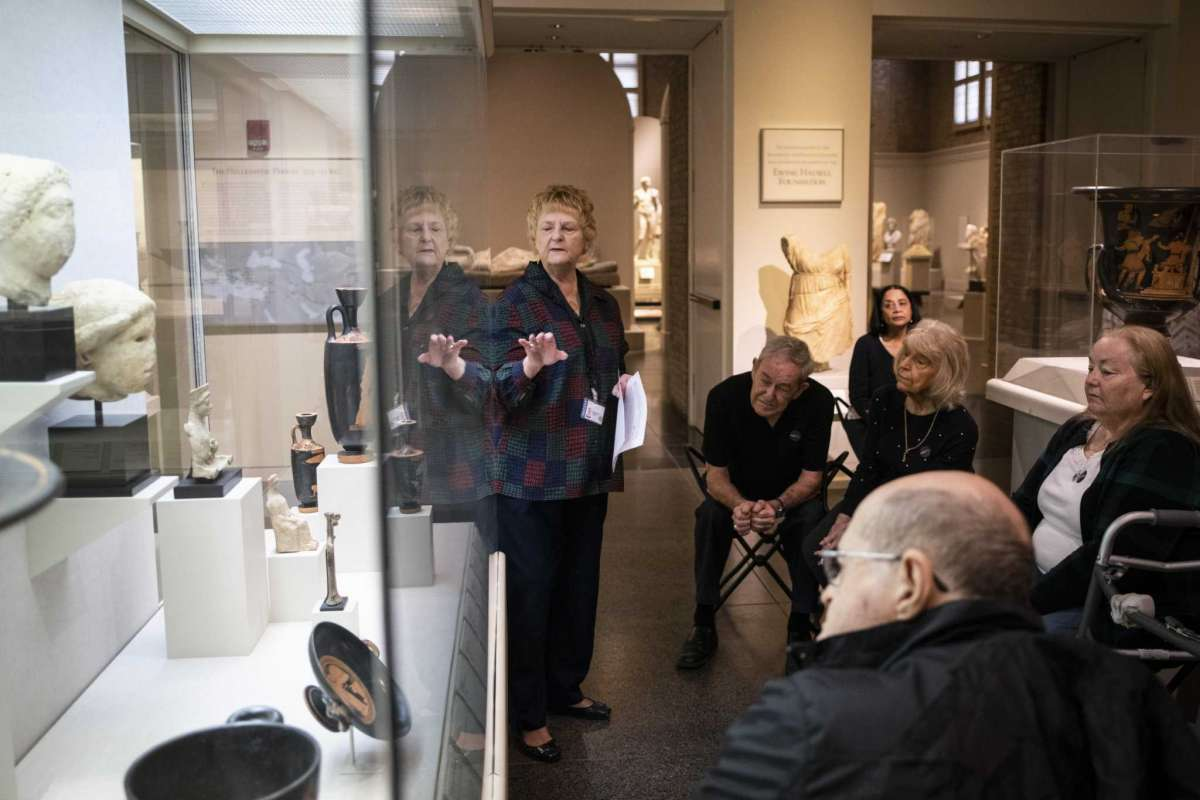 Susanne O'Brien, a docent at the San Antonio Museum of Art, describes the depiction of the Greek goddess Nike, during a sensory tour on Saturday, March 7, 2020.