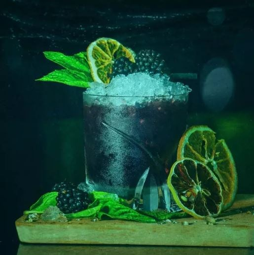 An ocean-themed cocktail photographed 'underwater'