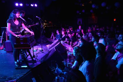 Musician Shilpa Ray (L) and Will Benton of Shilpa Ray perform onstage at the Knitting Factory in New York City in this filev photo.
