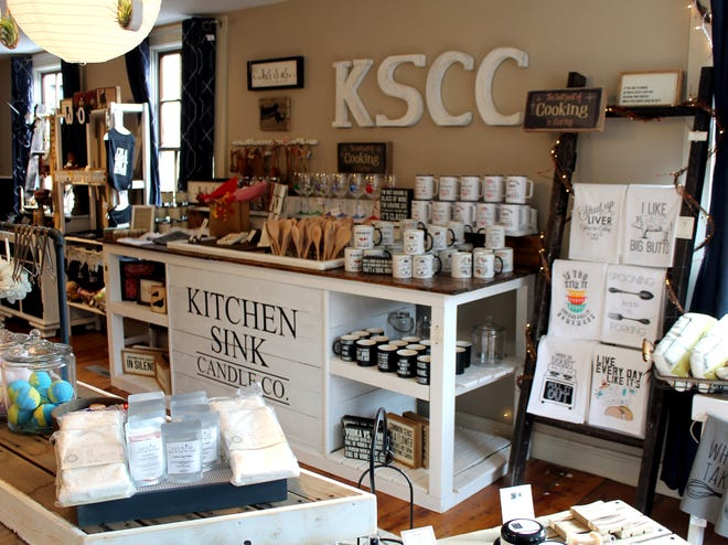 A display at Kitchen Sink Candle Co. offers a variety of gift options.