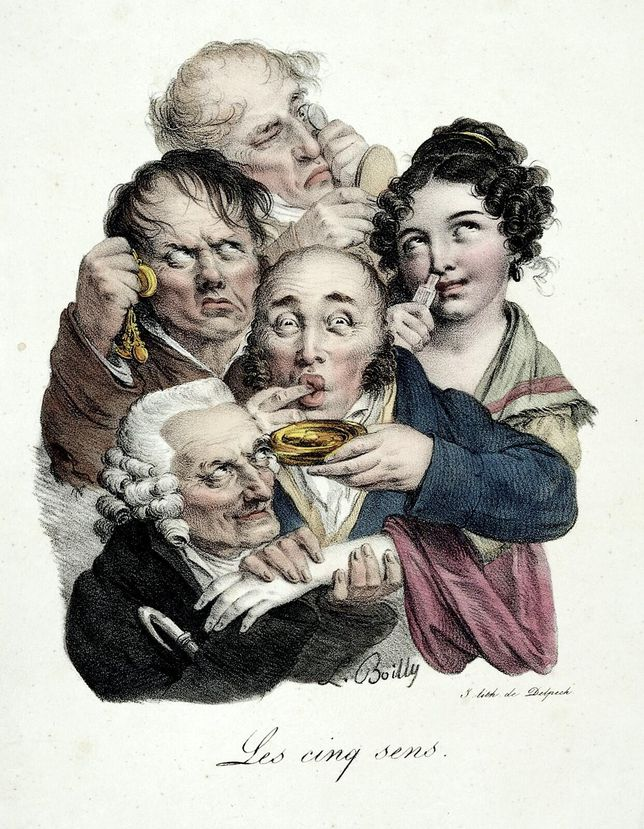Lithograph by French artist Louis-Léopold Boilly of people exercising the five senses.