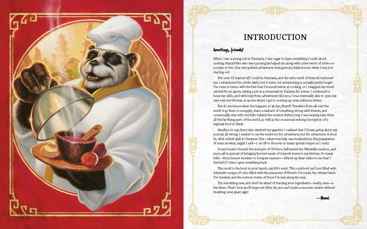 World of Warcraft: New Flavors of Azeroth: The Official Cookbook - an introduction written by Nomi, the Pandaren chef, explaining his travels around the world.