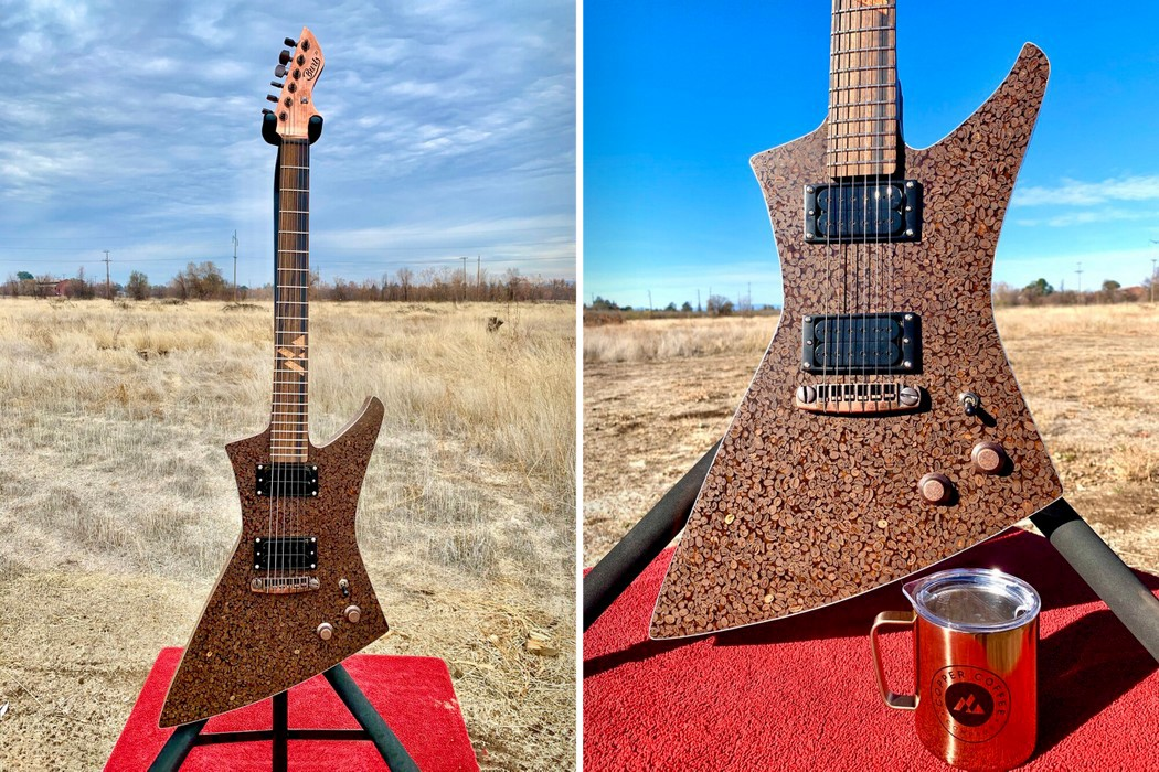 This electric guitar is made out of 5,000 coffee beans (And it smells like coffee too) | Yanko Design