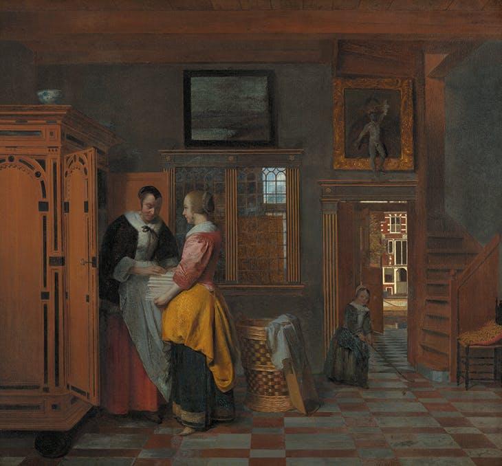 Interior with Women beside a Linen Cupboard (1663), Pieter de Hooch. Rijksmuseum, Amsterdam