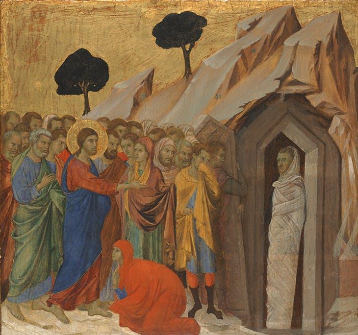 The Raising of Lazarus (1310–11), Duccio di Buoninsegna. Kimbell Art Museum, Forth Worth