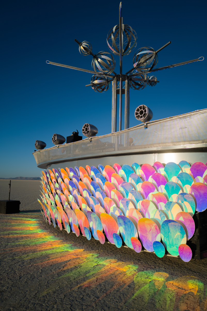 The AI-powered Passion Flower art car and multi-sensory mobile DJ platform.