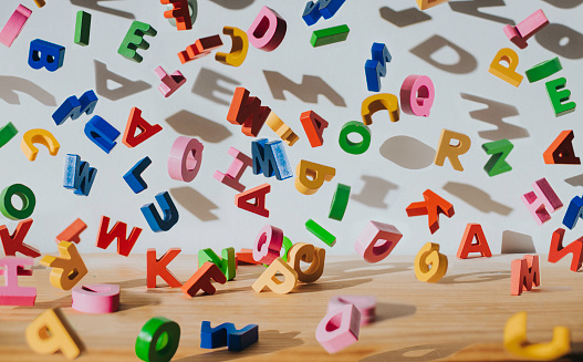 Falling colourful Letters